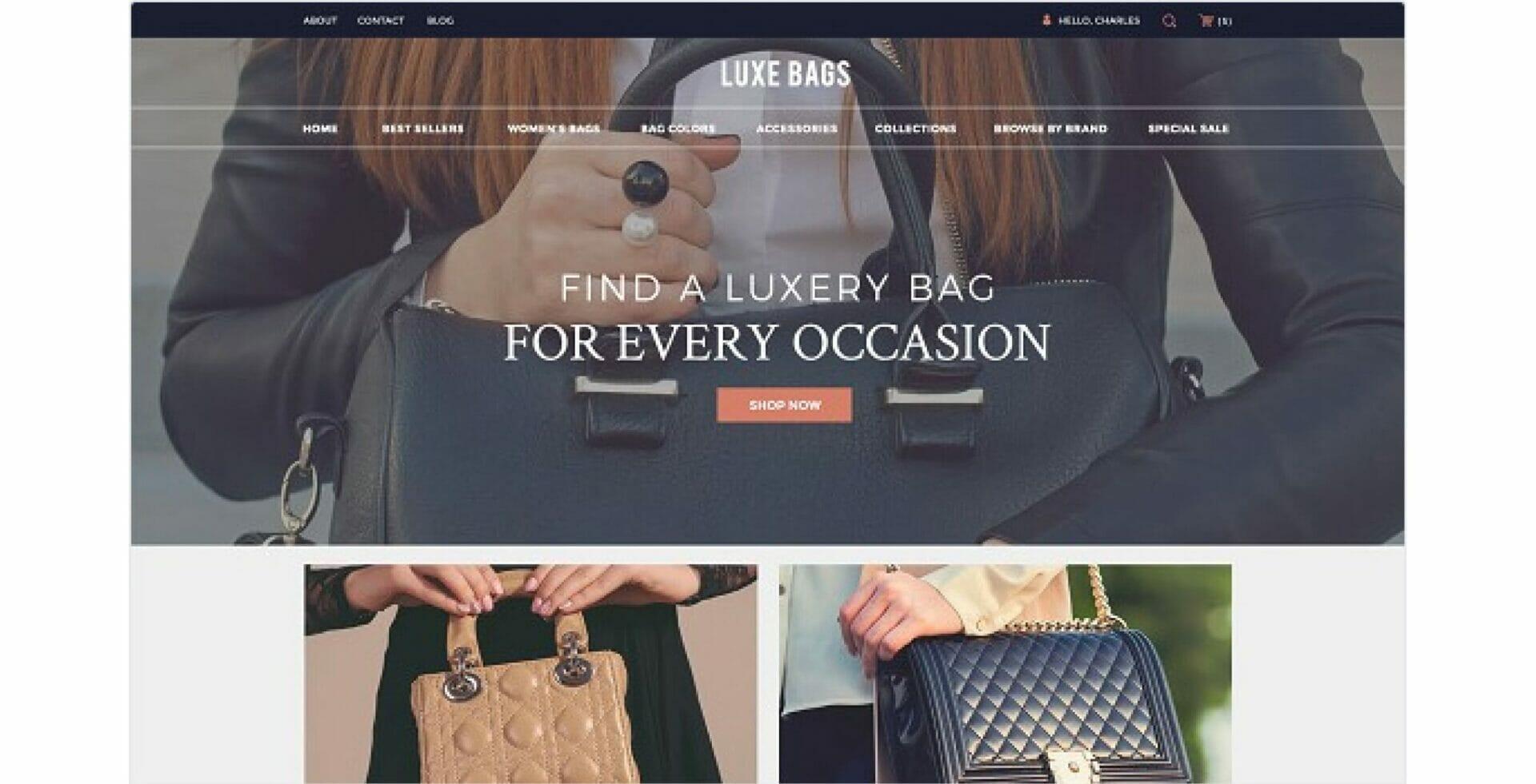 design di un ecommerce di borse