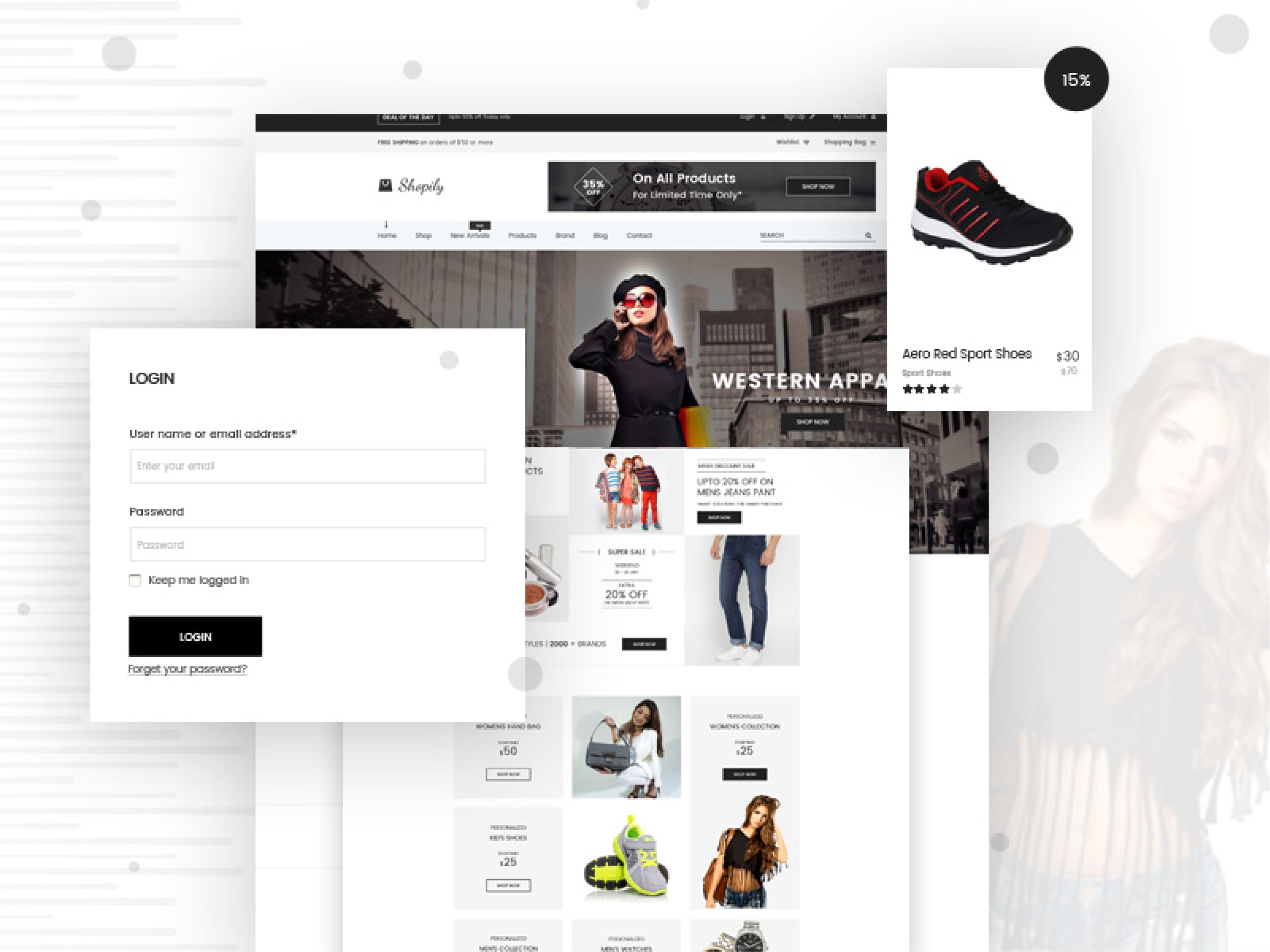design di esempio di un sito e-commerce
