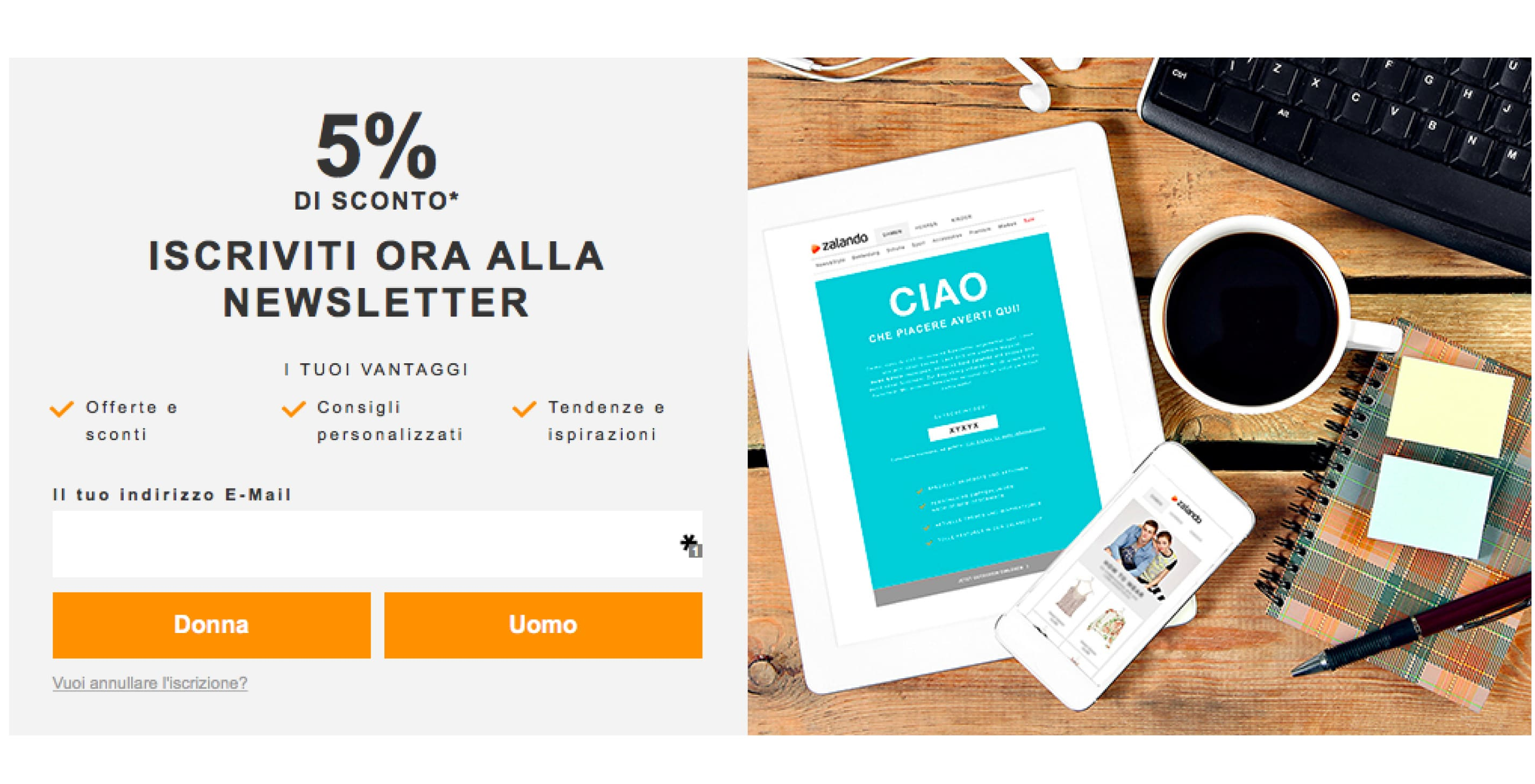 newsletter di esempio per promozione online