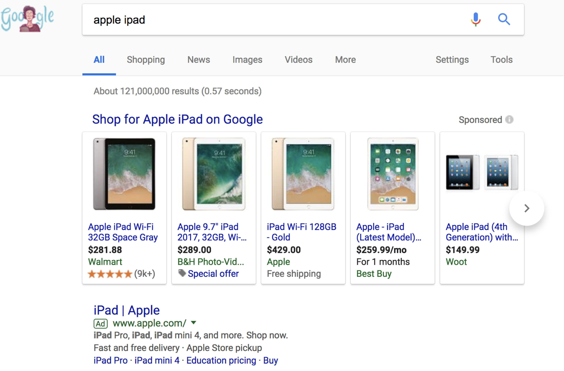 esempio di schermata degli annunci di google shopping