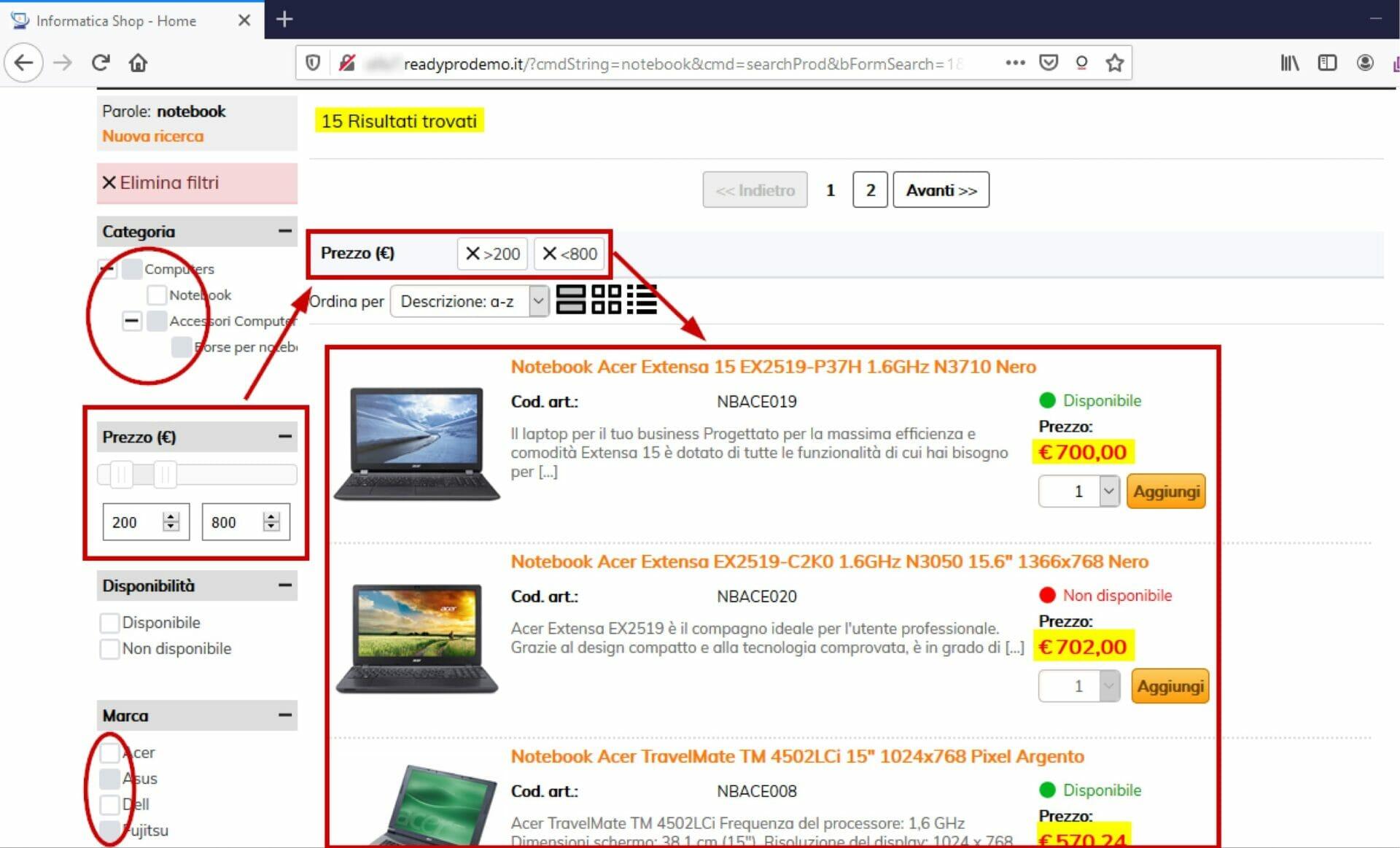 esempio di filtri di prodotti nell'e-commerce